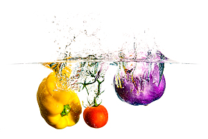 Splash Colors #1 - Peppers, Tomato and Eggplant