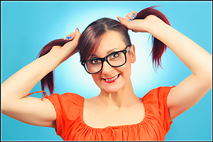 Francy - Smiling Woman with Glasses and Pigtails - Girl Portrait