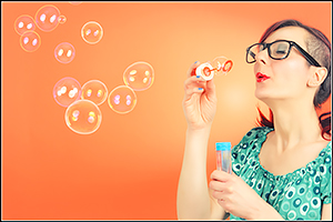 Francy - Pretty Lady Blowing Colorful Bubbles - Girl Portrait