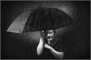 Francy - Cute Downpour Black and White - Girl Portrait